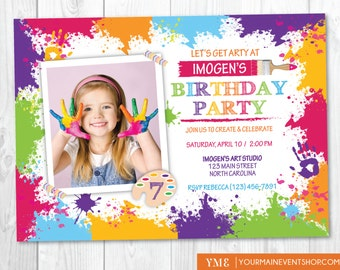 Art Party Invitation - Rainbow Craft Paint Birthday Invite With Photo - Arty Party Printable Digital Invitation