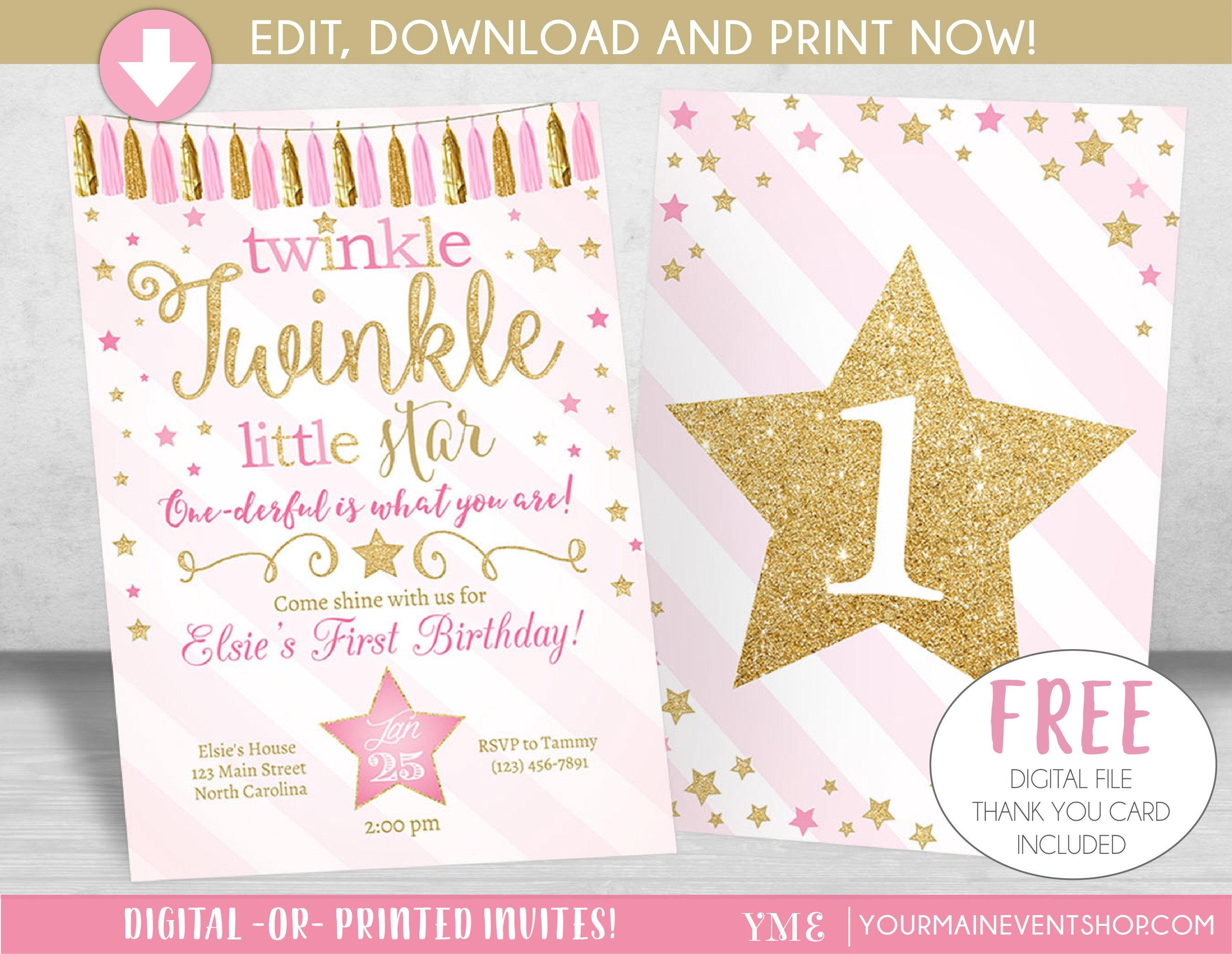 Twinkle Twinkle Little Star Invitation Twinkle Twinkle Little Star