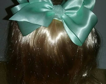 Pastel green satin boutique bow, boutique bow, girls hair bow