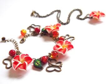 Red Flower Jewelry Set (floral jewelry bronze jewelry bridal jewelry set wedding jewelry bridesmaid bracelet flower bracelet flower pendant)