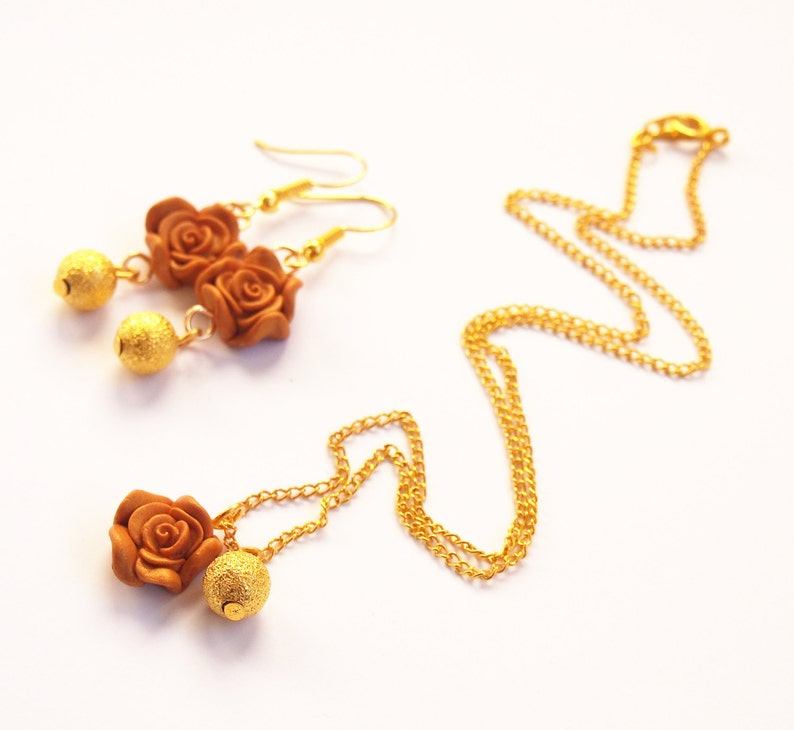 Gold Rose Jewelry jewelry set gold rose earrings gold rose necklace rose pendant gold earrings flower earrings polymer clay jewelry