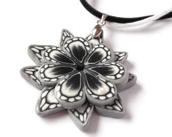 Floral Pendant black pendant ( grey pendant flower pendant polymer clay pendant black and white handmade pendant floral jewelry )