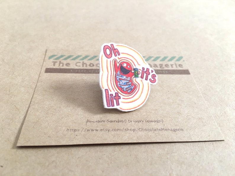 Handmade Lit Mitochondrion Pin  Lapel Pin or Button or Brooch