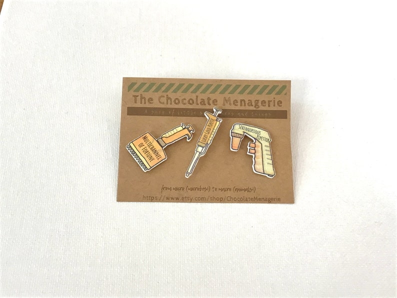Handmade Lucky Gold Pipettor Pin  Electronic Pipettor Pipet-Aid Serological Pipette pin  Lapel Pin or Button or Brooch