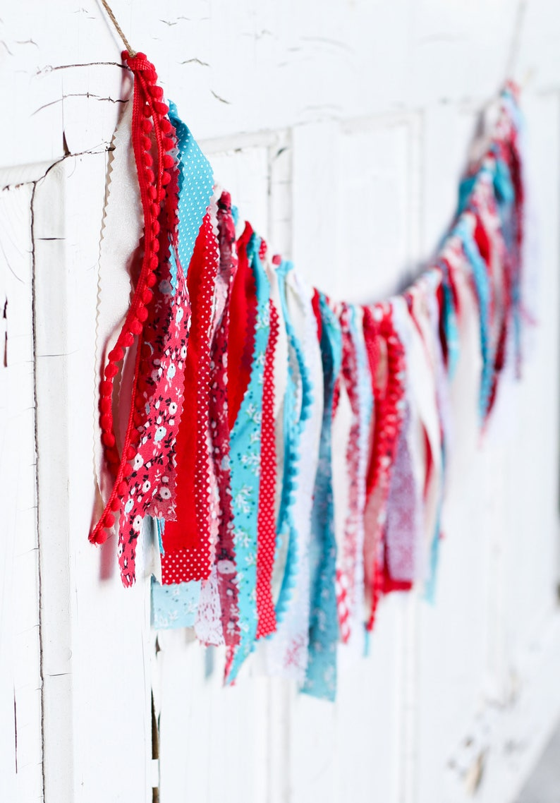 Cloth Banner Red Teal Fabric Garland Birthday Bunting Carnival Farmers Market Circus Vintage Lace Shabby Chic Gingham Baby Shower Wedding