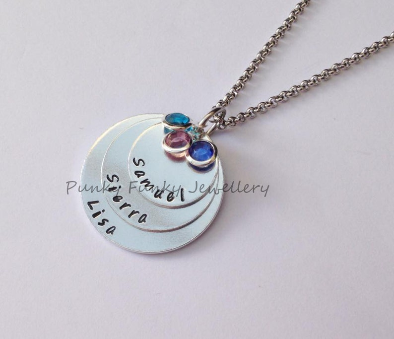 Mum gift Personalised birthstone necklace stacked pendant Children/'s name necklace Mother/'s Day Gift birthstone crystals