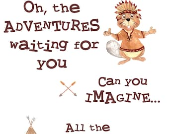 ADVENTURE AWAITS Baby Nursery Child's Room Wall Art Decor 'Adventures You'll Have' Poem Tribal Print
