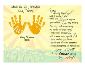 8b9f8f7eb4 Your Love Etched in Mine~ Mother s Day Gift To Grandma Grandmother Gift From  BABY s Hand Prints Handprints Poem Art Print Christmas Birthday