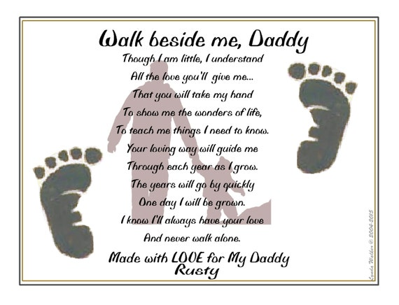 Items similar to Walk Beside Me Daddy© Personalized Poem ...