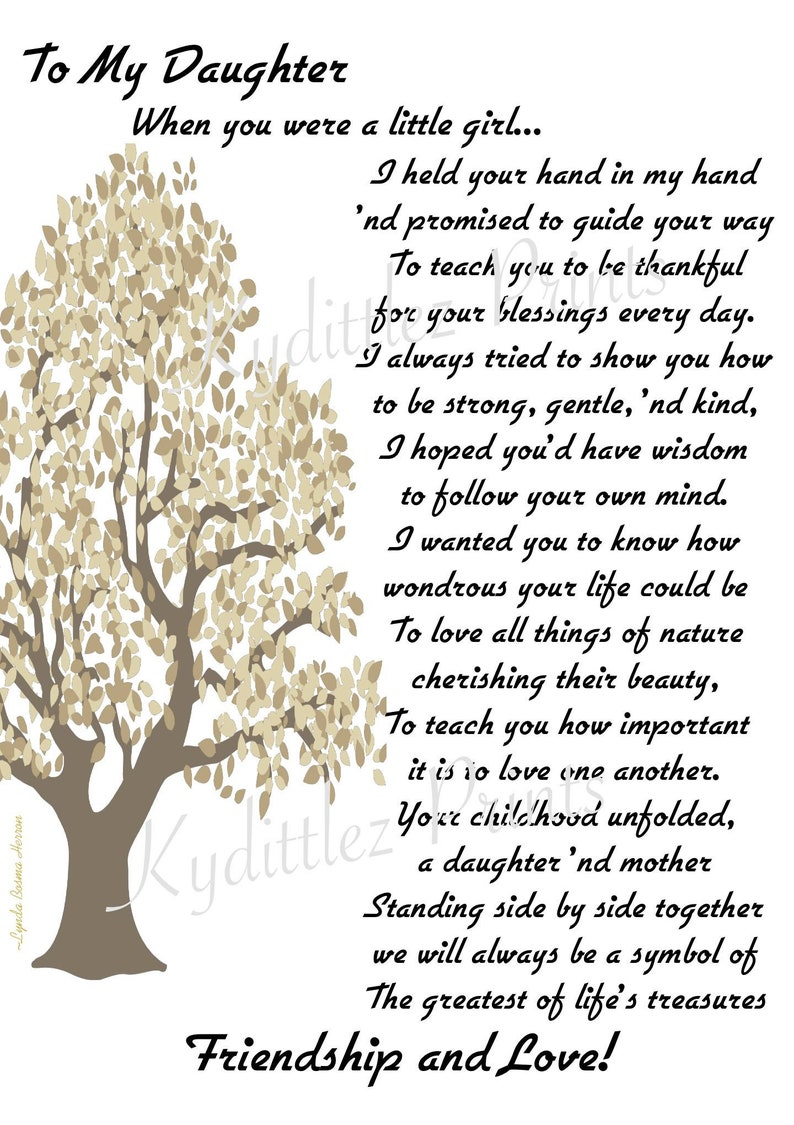 Promise To My Daughter or Son ~ Wedding, Graduation, 21st Birthday, Bride  Poem Personalized from Mother to Daughter 8 x 10 Matted Print