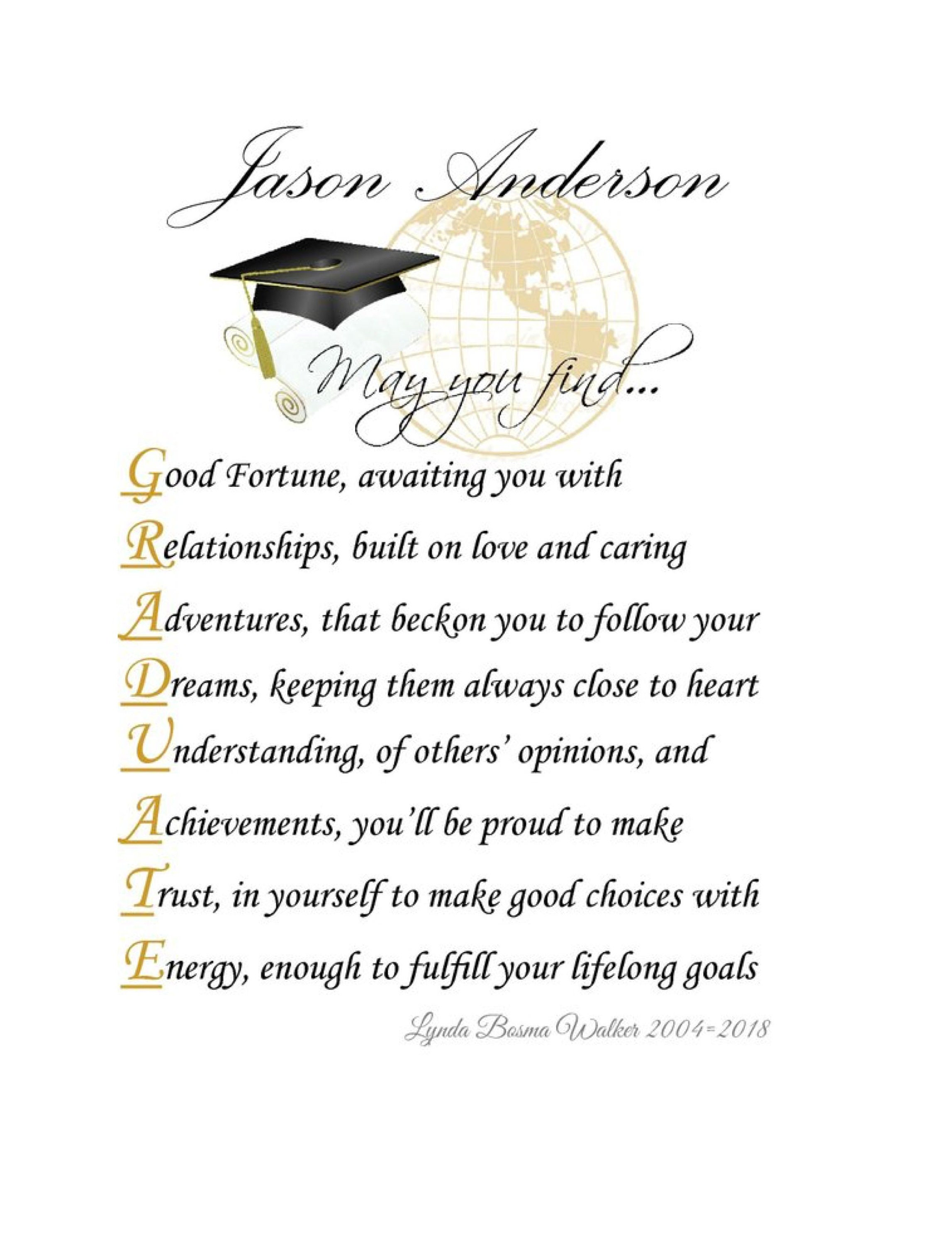 May You Find Personalized Graduation Inspirational Poem Print