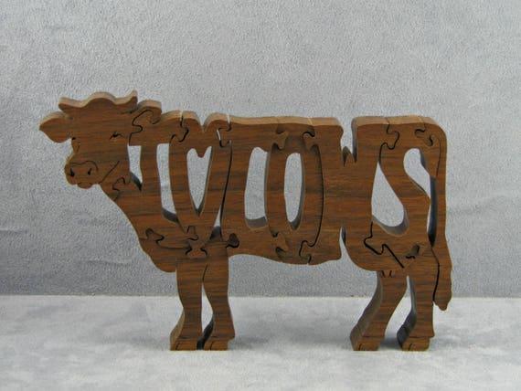 Liefde Walnoot Hout : Ik liefde koeien hout wordart koe puzzel vrijstaande voor etsy