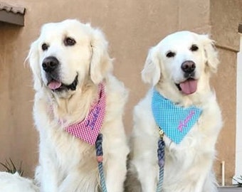 Personalized Gingham Dog Bandana, Custom Pet Scarf,  Classic Tie Neckerchief, Dog Wedding Attire, Puppy Dog Gift
