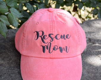 Rescue Mom, Rescue Mom Hat, Dog Mom Gift, Dog Lover gift, Gift For Mom, Baseball Cap Comes in 24 colors, Embroidered Monogram, Personalized
