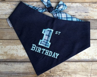 Birthday Dog Bandana, Personalized Denim Dog Bandana, Reversible  Blue Plaid with Denim, Birthday Girl Gift