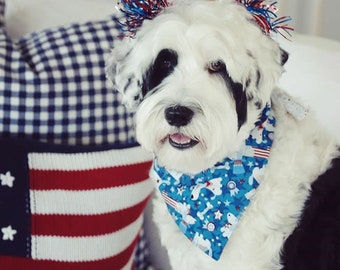 Personalized Patriotic Dog Bandana |•| Reversible Pet Scarf |•| The Best Custom Puppy Gifts by Three Spoiled Dogs