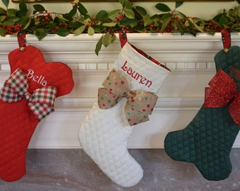 Pet Christmas Stocking, Cat Christmas Stocking, Dog Stocking, Dog Bone Stocking, Cat Fish Stocking, Red Green or Winter White, Personalized