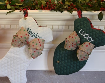 Pet Christmas Stocking ...Red Green or Winter White, Personalized