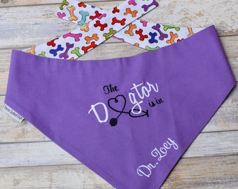 Dog Scarf, Dog Bandana, Personalized Therapy Dog Bandana, Reversible Dogtor Bandana Pet Scarf, Custom Puppy Dog Gifts by Three Spoiled Dogs