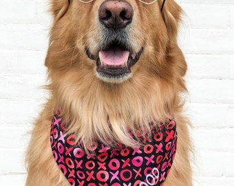 Personalized Valentine's Dog Bandana | X's and O's on black I Reversible Pet Scarf with Hearts | Three Spoiled Dogs