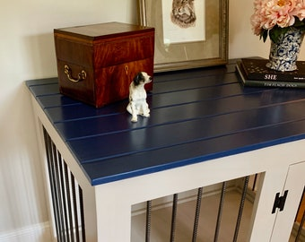 Large Farmhouse Style Crate with Shiplap / Custom GORGEOUS Navy Top / Kennel Small to Extra Large in 12 Colors