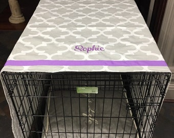Dog Crate Cover, Crate Cover, Personalized Pet Name on Quatrefoil fabric, Sizes Sm - XXL, Monogrammed Crate Cover for Dogs