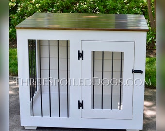 Wood Dog Crate Furniture, Large Dog Kennel, Farmhouse Style Dog House with Shiplap, Dog Bed, Custom Single Kennel, Handmade, Indoor Crate