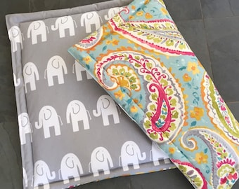 Personalized Dog Training Mat, Personalized Comfy Travel Mat, Large Paisley Custom Crate Pad, Paisley and Elephants by Three Spoiled Dogs