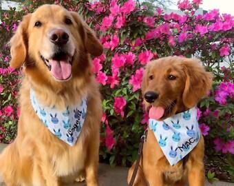 Personalized Spring Dog Bandana | Reversible Pet Bandana | Dog Scarf with Easter Bunnies | Easter Bandanas with Bunny | Puppy Dog Gift