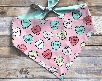 Personalized Valentine's Dog Bandana | Conversation Hearts | Reversible Pet Scarf with Hearts  | Three Spoiled Dogs