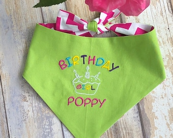 Birthday Dog Bandana, Personalized Dog Bandana, Dog Neckerchief, Reversible with Happy Birthday and Other Side Chevron, Pinks Greens Blues