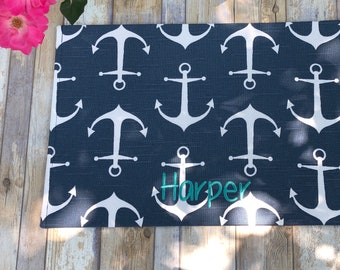 Personalized Nautical Dog Food Mat, Cat Placemat for Food and Water, Personalized Anchors Fabric Pet Food Mat, Dog Mats for Food