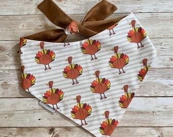 Thanksgiving Turkeys Dog Bandana     Autumn Fall Colors with a Fabulous Corduroy