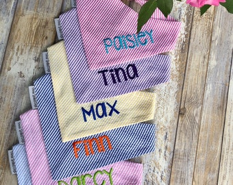 Seersucker Dog Bandana, Monogrammed Cat Bandana, Dog Gift, Personalized Pet Neckwear, Pet Accessories, Classic Tie, Dog Wedding, Boy Dog