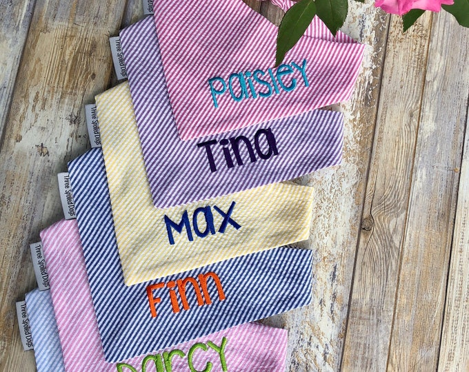 Featured listing image: Personalized Seersucker Dog Bandana, Monogrammed Pet Bandana, Custom Wedding Bandana, Personalized Dog Lover Gift