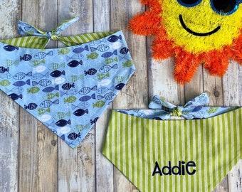 Personalized Dog Bandana, Summer Dog Bandana with Fish, Classic Tie Fun Colorful Scarf