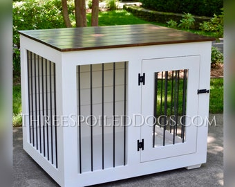 Wood Dog Kennel, Custom Farmhouse Style Dog Crate with Shiplap, Indoor Dog Crate
