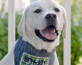 Birthday Boy Dog Bandana, Personalized Denim Dog Bandana, Reversible Green and Blue Plaid with Denim, Birthday Girl Gift
