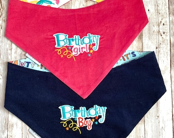 Birthday Dog Bandana, CORDUROY Dog Scarf, It's My Pawty Birthday Girl Classic Tie Bandana, Birthday Gift, Balloon Dogs