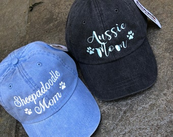 Personalized Doodle Mom Hat, Dog Mom Gift, Dog Lover gift,  Baseball Cap Comes in 24 colors