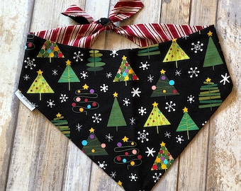 Christmas Trees Dog Bandana |  Personalized Pet Bandana with Christmas Trees | Classic Tie Bandanas Limited Quantity