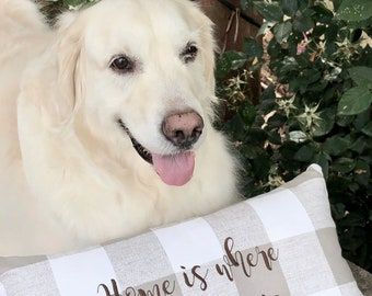 Farmhouse Buffalo Check Pillow, Home is Where the Golden is Pillow, Pillow for Dog Lover, The Best Gifts by Three Spoiled Dogs, Personalized