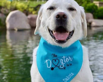 Personalized Therapy Dog Bandana, Reversible Dogtor Bandana Pet Scarf, Custom Puppy Dog Gift