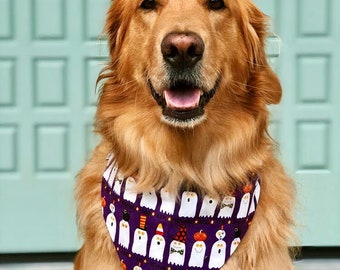 Halloween Dog Bandana, Purple Pet Bandana with Ghosts, Puppy Gift, Personalized Pet Neckwear, Pet Accessories, Classic Tie, Glow In The Dark