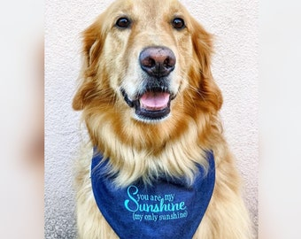 Denim Dog Bandana, Personalized Bandana with You are My Sunshine, Plaid Reversible Green, Grey and Blue Plaid, Puppy Dog Gift