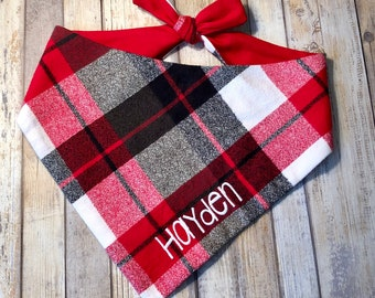 Personalized Flannel Dog Bandana, Monogrammed Pet Bandana, Dog Gift, Pet Neckwear, Pet Accessories, Classic Tie, Family Photos, Puppy Dog