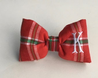 Personalized Dog Bow Tie | Christmas Bow Tie | Monogram Flannel Bow for Dogs