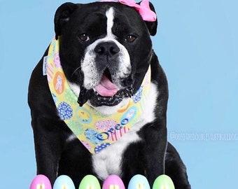 Personalized Easter Dog Bandana | Reversible Spring Pet Scarf with Easter Eggs | Spring Easter Eggs on Yellow | Puppy Dog Gift