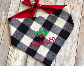 Personalized Christmas Dog Bandana | Pet Scarf with Holly and Berries | Buffalo Check Plaid in Black and White - Three Spoiled Dogs