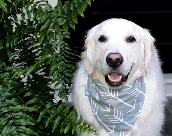 Dog Scarf, Dog Bandana, Personalized Dog Bandana with Arrows, Size Extra Extra Small to Extra Large, Reversible, Pet Accessories